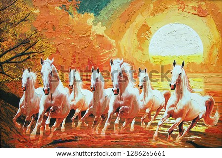 Seven Running horses in yellow background canvas texture oil painting