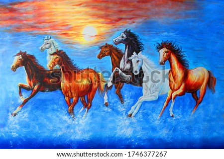 Seven Running Horses wildlife decorative pattern textured canvas acrylic artwork abstract oil painting 3D wallpaper Foto stock ©