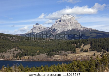 Seven Sisters Mt, Crowsnest Mt and Crowsnest Lake, Alberta, Canada