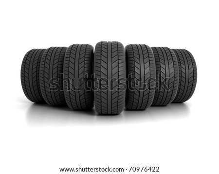 Seven Tires Formation Isolated on White Background