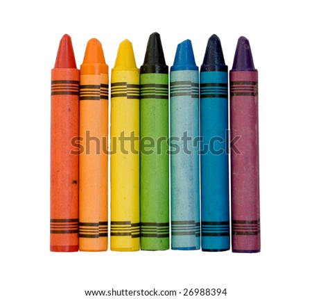 Seven used colored vax crayons form rainbow