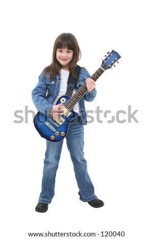Seven year old girl standing with a blue electric guitar. - stock photo