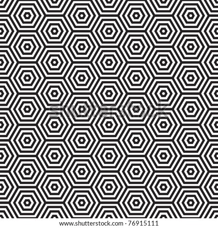 Seventies inspired hexagon seamless pattern background in black and white