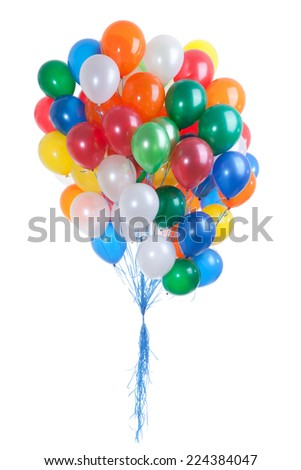 Seventy Balloons of Red, Orange,Blue, Yellow, Green and White Colors on the White Background