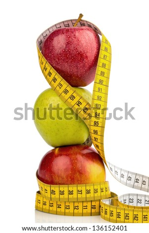 several apples with a tape measure. symbolic photo for diet and healthy, vitamin-rich diet.