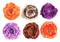 several artificial flowers - top view isolated on white