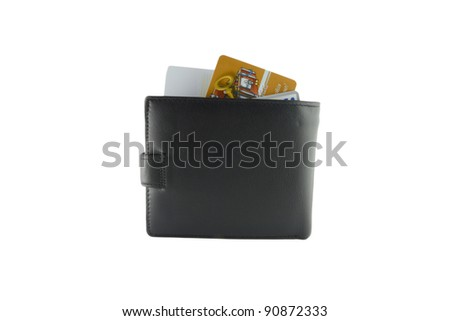 Several bright credit cards in a wallet isolated on white background