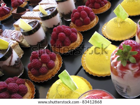 Several cakes in a bakery