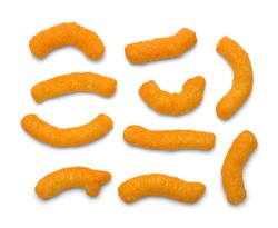 Several Cheese Puffs Isolated on a White Background.
