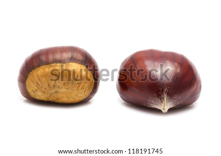 Several chestnuts on white background.