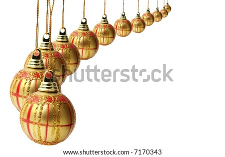 Several christmas balls isolated on white