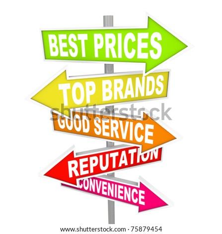 Several colorful arrow street signs with words representing unique selling points for different stores - best prices, top brands, good service, reputation and convenience