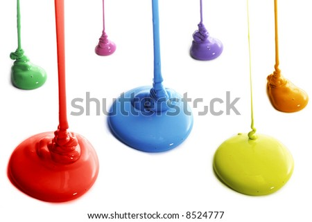 stock photo : Several colors of paint pouring