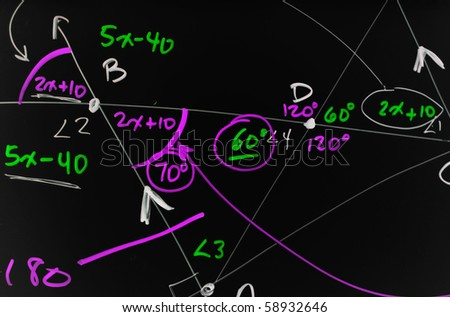 Several complex mathematical formulas, equations, and geometry written on a smooth black board.
