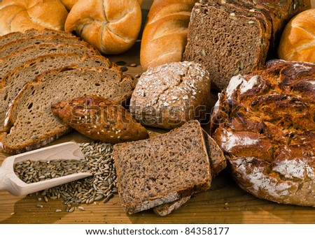 Several different kinds of bread. Healthy diet with fresh baked goods.