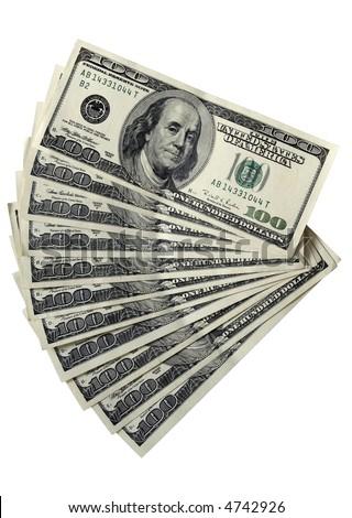 Several 100 dollar bills