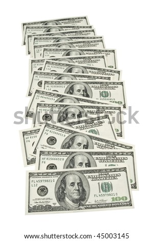 several 100 dollar bills spread out in a row, on white background