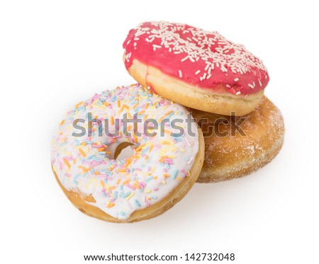 several donuts isolated on white background