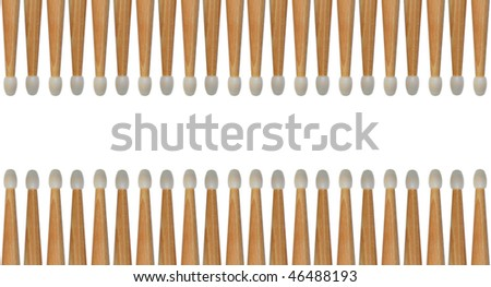 Several drumsticks isolated on white creates an abstract background pattern. Seamless.