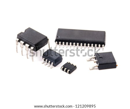Several electric chips. The photo on the white background