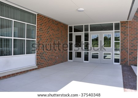 several entry doors for a modern school