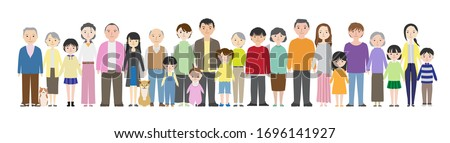 several families.Nuclear Family,Large family,and Fatherless family