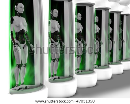 Several female robots standing in sleeping chambers. All of them have closed eyes as if they are sleeping or are powered off.
