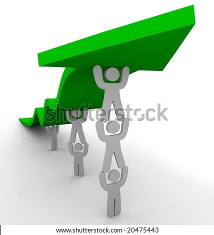Several figures team up to push up a green arrow, symbolizing teamwork and growth