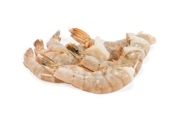 several frozen headless tiger shrimps isolated on white background