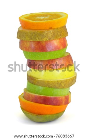Several fruit slices in close up