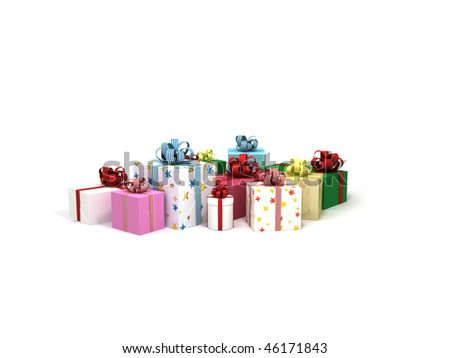 Several gifts on a white background.