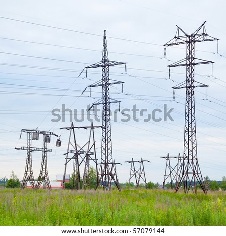Several high-voltage transmission lines