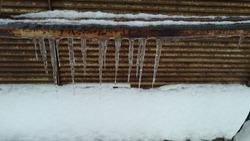 Several ice icicles hang from an iron pipe. A rusty iron pipe covered with seng, with icicles hanging from the pipe, white snow lies under the pipe. In the background there is a rusty metal grill with