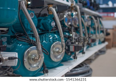 Several individual pumping stations for home. Electric high pressure pump