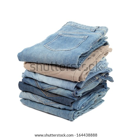 several jeans isolated on white