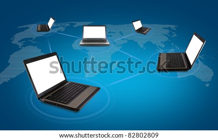 Several laptop computers connected in a social network