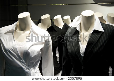 Several mannequins without a head. Can be used to illustrate stupidity, thoughtlessness or a herd-like mentality.