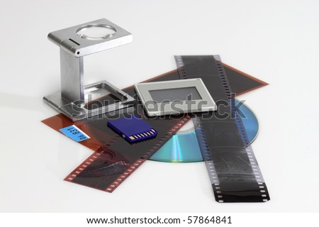 Several mediums to archive photos on bright background