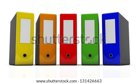 Several multi-colored file folders on white background in 3d
