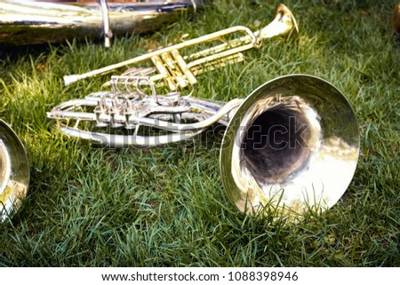 Several musical wind instruments of a trumpet orchestra, on green grass in a city park. #1088398946