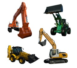 Several new excavator isolated on pure white