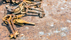 Several old rusty keys on ring shot on steel textured background