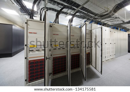 Several outdoor telecom racks in the server room.