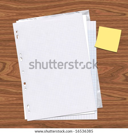 Several pages of paper stacked on a wood desk with a post-it note