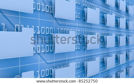 several pc folders and a background wall with binary code (3d render)