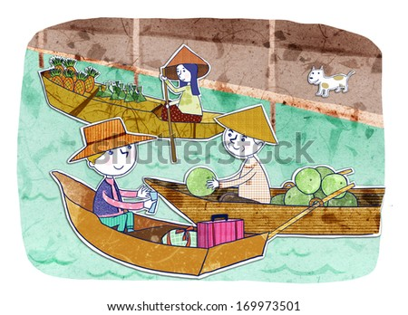 Several people riding in small boats to buy and sell produce.