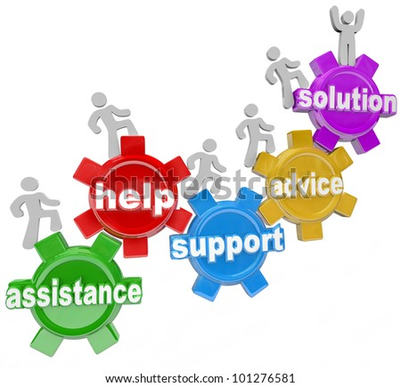 Several people rising on gears helping each other to achieve success and reach a solution through assistance, help, support and service, representing teamwork needed to achieve a goal