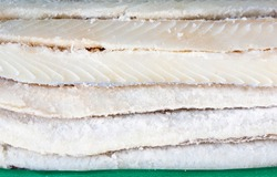 Several pieces of healthy and tasty salted cod.