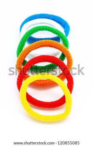 Several pony-tail holder of different colors