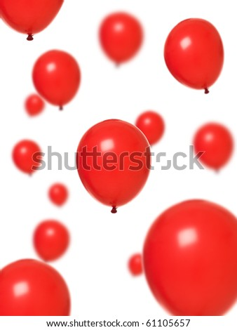 Several red balloons isolated on white background